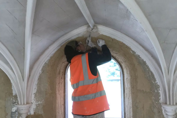 Plastering vaults at Cobham Dairy, Kent