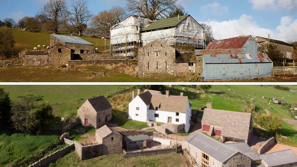 Llwyn Celyn, before and after restoration