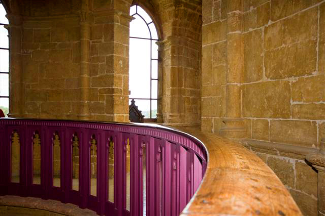 The banister at Gothic Temple.